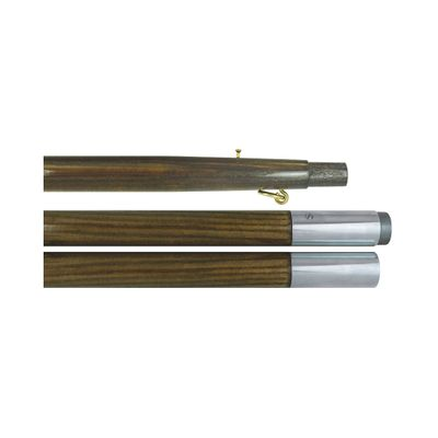 Oak Finished Indoor Flagpole with Chrome Joint - 8 Length 1-1/4 Diameter