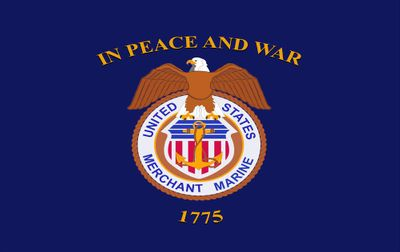 "U.S. Merchant Marine Stick Flag - 12"" x 18"" - E-Polyester"