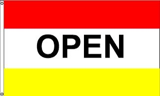 Open Red & Yellow Message Flag - 3' x 5' - Nylon
