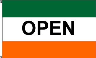 Open Green & Orange Message Flag - 3' x 5' - Nylon