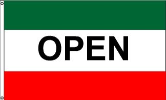 Open Green & Red Message Flag - 3' x 5' - Nylon