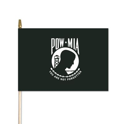 "U.S. POW/MIA Stick Flag w/ Gold Spear - 4"" x 6"" - Cotton"