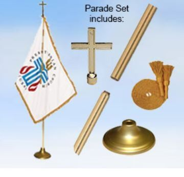 Presbyterian Indoor Display & Parade Gold Aluminum Flag Set - 3' x 5' - Nylon