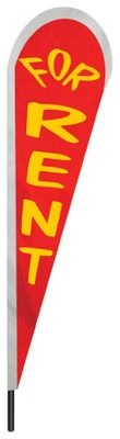 "For Rent Teardrop Flag - 10' x 30"" - Nylon"