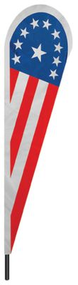 "Patriotic 1 Teardrop Flag - 10' x 30"" - Nylon"