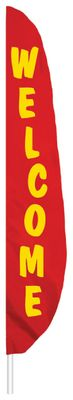 "Red Welcome Feather Flag - 7' x 17"" - Nylon"