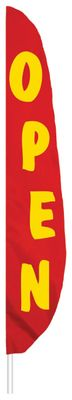 "Red Open Feather Flag - 12' x 26"" - Nylon"