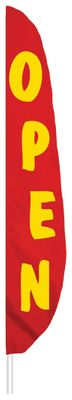 "Red Open Feather Flag - 7' x 17"" - Nylon"
