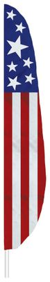"Stars & Stripes 1 Feather Flag - 7' x 17"" - Nylon"