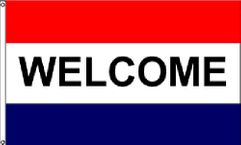 Welcome Red & Blue Message Flag - 3' x 5' - Nylon