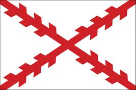 "Cross of Burgundy Stick Flag - 4"" x 6"" - Endura-Gloss"