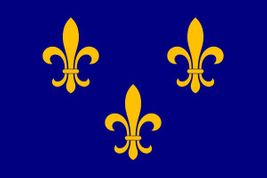 "Fleur de Lis Blue 3 Stick Flag - 4"" x 6"" - Endura-Gloss"