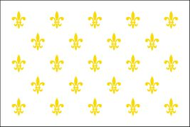 "Fleur de Lis White 23 Stick Flag - 4"" x 6"" - Endura-Gloss"