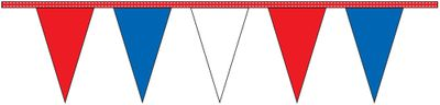 Red White & Blue Pennant Streamers - 60' - Plastic