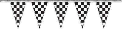 Black & White Checkered Pennant Streamers - 50' - Plastic