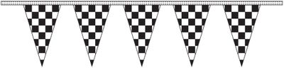 Black & White Checkered Pennant Streamers - 100' - Plastic