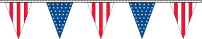 Red White & Blue Pennant Streamers - 100' - Plastic