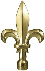 "Fleur de Lis Flag Pole Ornament w/ Spindle - 7 3/4"" - Gold Finish"