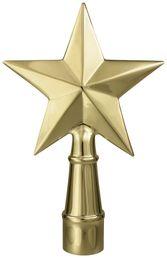 """Texas Star Flag Pole Ornament w/ Ferrule - 6 3/4"""" - Gold Finish"""