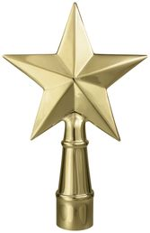 """Texas Star Flag Pole Ornament w/ Spindle - 6 3/4"""" - Gold Finish"""
