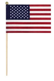 "4"" x 6"" American Stick Flag w/ Ball - Cotton No Fray U.S. Stick Flag"