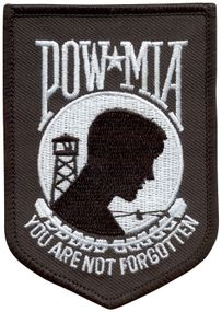 "POW/MIA Embroidered Patch - 3 1/2"" x 2 1/2"""