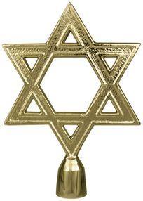"""Star of David Flag Pole Ornament w/ Ferrule - 6 3/4"""" - Gold Finish"""