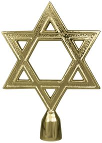 "Star of David Flag Pole Ornament w/ Spindle - 6 3/4"" - Gold Finish"