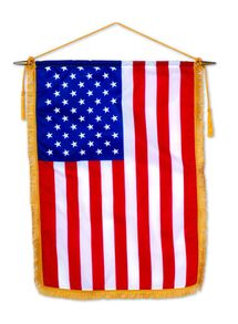 U.S. Classroom Banner - 24 x 36 - Fringe - 30 Wood Staff