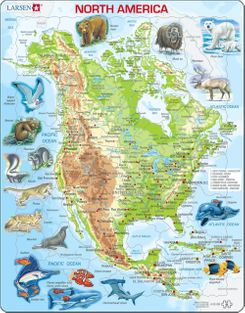 North American Map with Animals Educational 66 Piece Jigsaw Puzzle