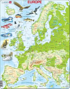 Europe Map with Animals Children's Educational 87 Piece Jigsaw Puzzle