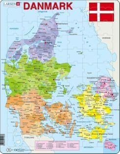 Denmark Map Children's Educational 70 Piece Jigsaw Puzzle