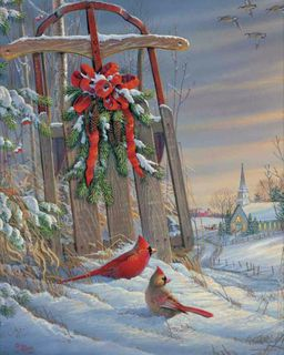 Winter Red Birds 500 Piece Jigsaw Puzzle