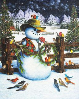 Western Snowman 1000 Piece Jigsaw Puzzle for sale by Springbok Puzzles.