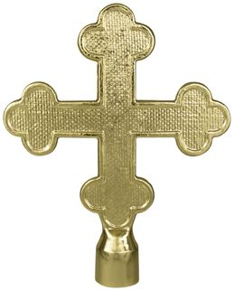 "Botonne Cross Flag Pole Ornament w/ Ferrule - 5 3/4"" - Gold Finish"