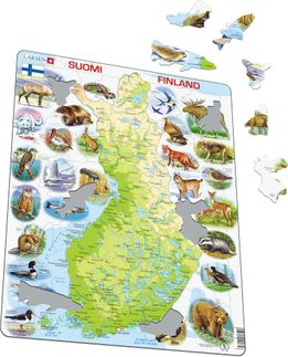 Finland Map with Animals Educational 78 Piece Jigsaw Puzzle