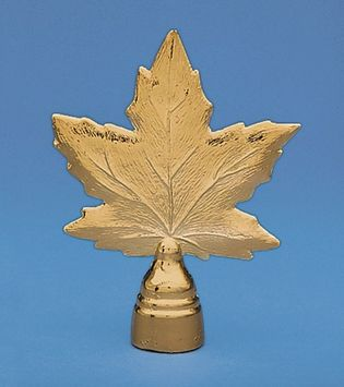 "Maple Leaf Flag Pole Ornament w/ Spindle - 5 1/4"" - Gold Finish"