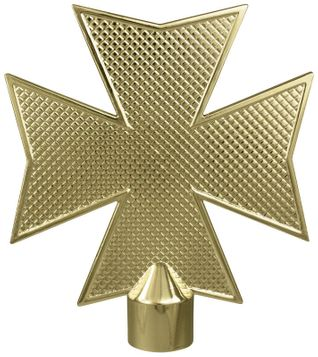 "Maltese Cross Flag Pole Ornament w/ Spindle - 6 3/4"" - Gold Finish"