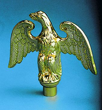 Metal Perched Eagle Indoor Flag Pole Ornament