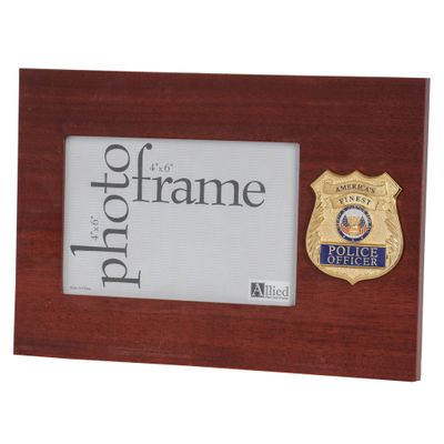 Police Department Medallion 4-Inch by 6-Inch Desktop Picture Frame