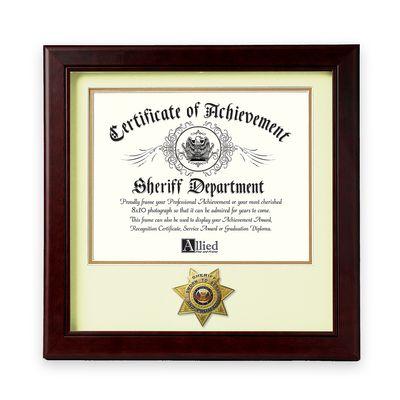 "Sheriff Medallion 12"" x 12"" Certificate Frame - Mahogany"