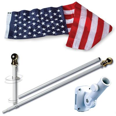 U.S. Flag Set - 3 x 5  Embroidered Nylon Flag and 5 Spinning Flag Pole
