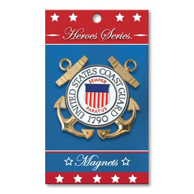 Heroes Series Coast Guard Medallion Large Magnet - 3 Diameter""