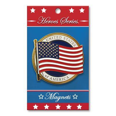 "Heroes Series US Flag Medallion Large Magnet - 3 Diameter"""