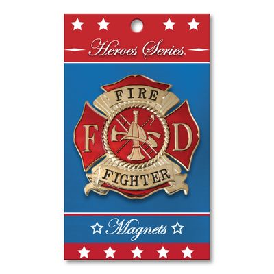 Heroes Series Firefighter Medallion Large Magnet - 3 Diameter""