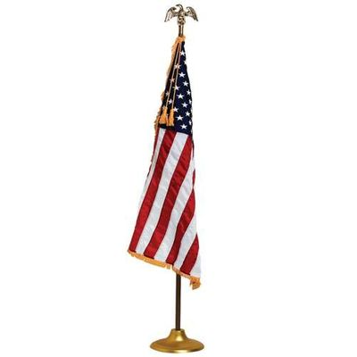 U.S. Flag - 4 x 6 Embroidered Nylon with Pole Hem and Fringe