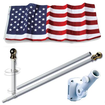 U.S. Flag Set - 3' x 5'  Embroidered Polyester Flag and 5' Spinning Flag Pole
