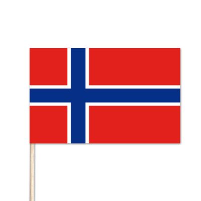 "Norway World Stick Flag - 8"" x 12"" - Endura-Gloss Cotton"