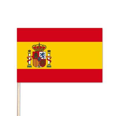"Spain World Stick Flag - 8"" x 12"" - Endura-Gloss Cotton"