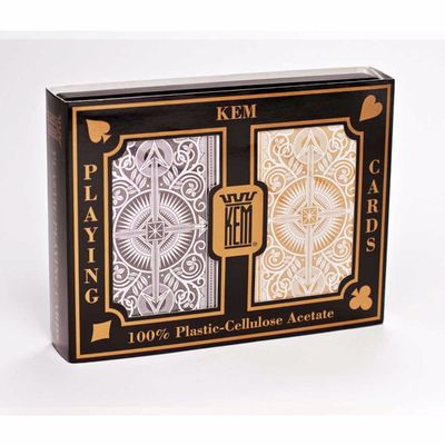 Kem Jumbo Print Index Playing Cards Black and Gold Decks
